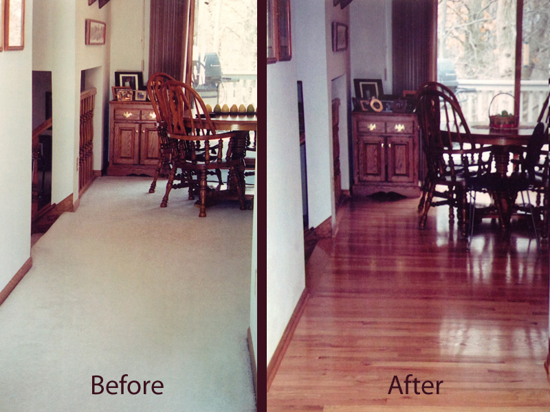 before and after hardwood floor install