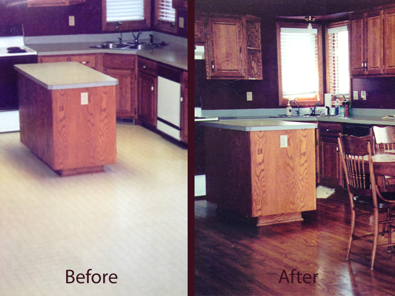 hardwood flooring before and after